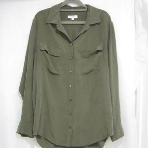 "Equipment M Silk Fall Button Up Shirt Tunic 44"" B"